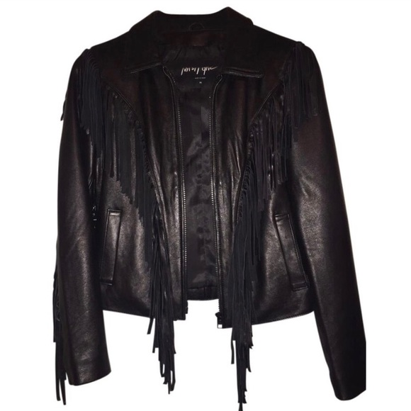 Nasty Gal Jackets & Blazers - Nasty Gal Genuine Leather Fringe Jacket